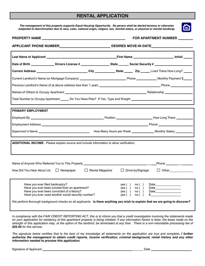 House Rental Application Form Florida