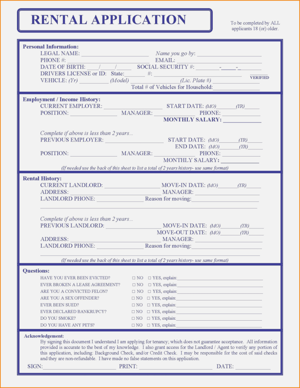 House Rental Application Form Nc