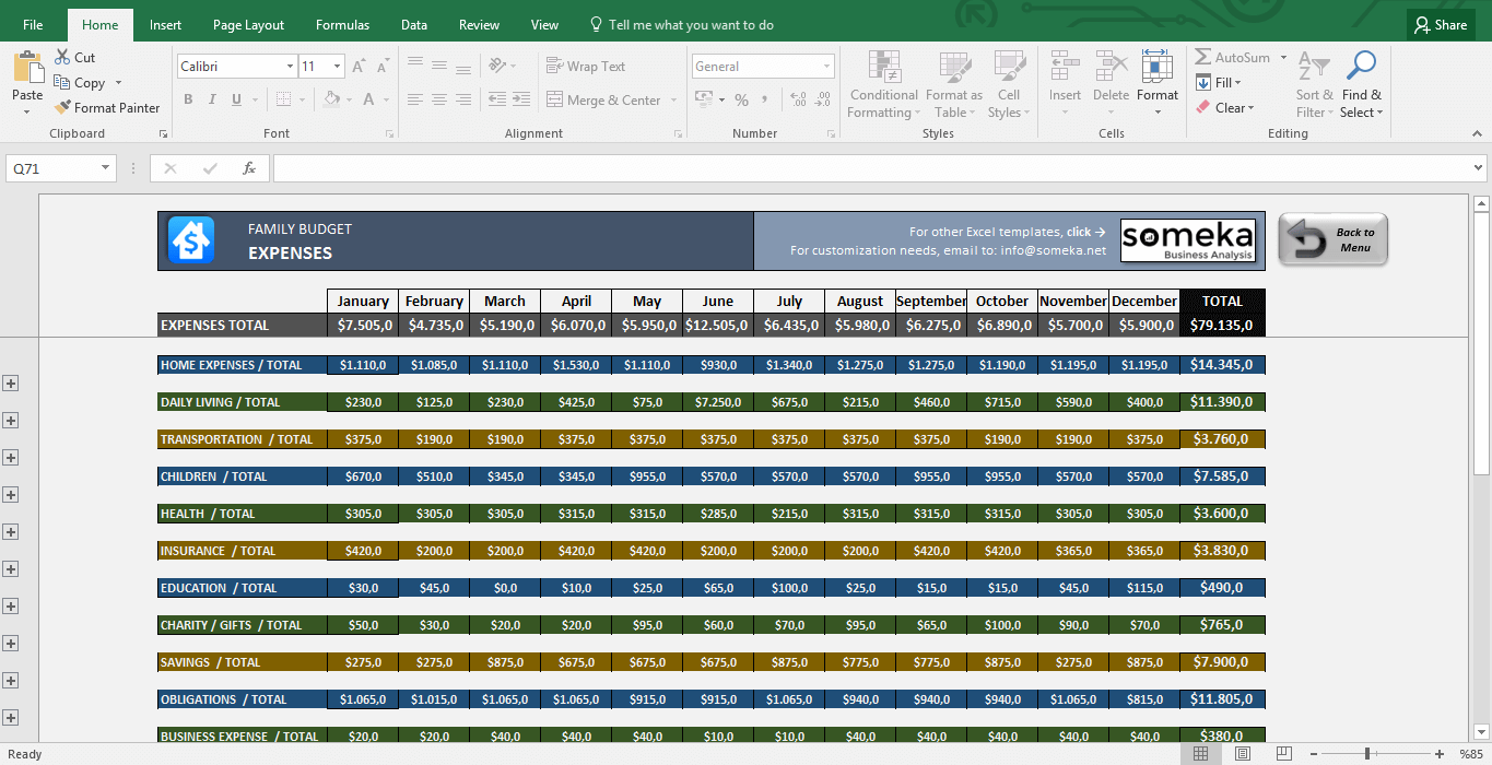 Household Budget Spreadsheet Free Excel