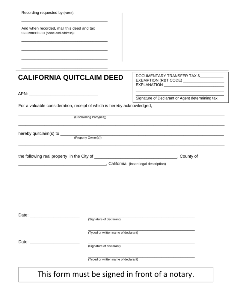 How To Complete California Quit Claim Deed Form