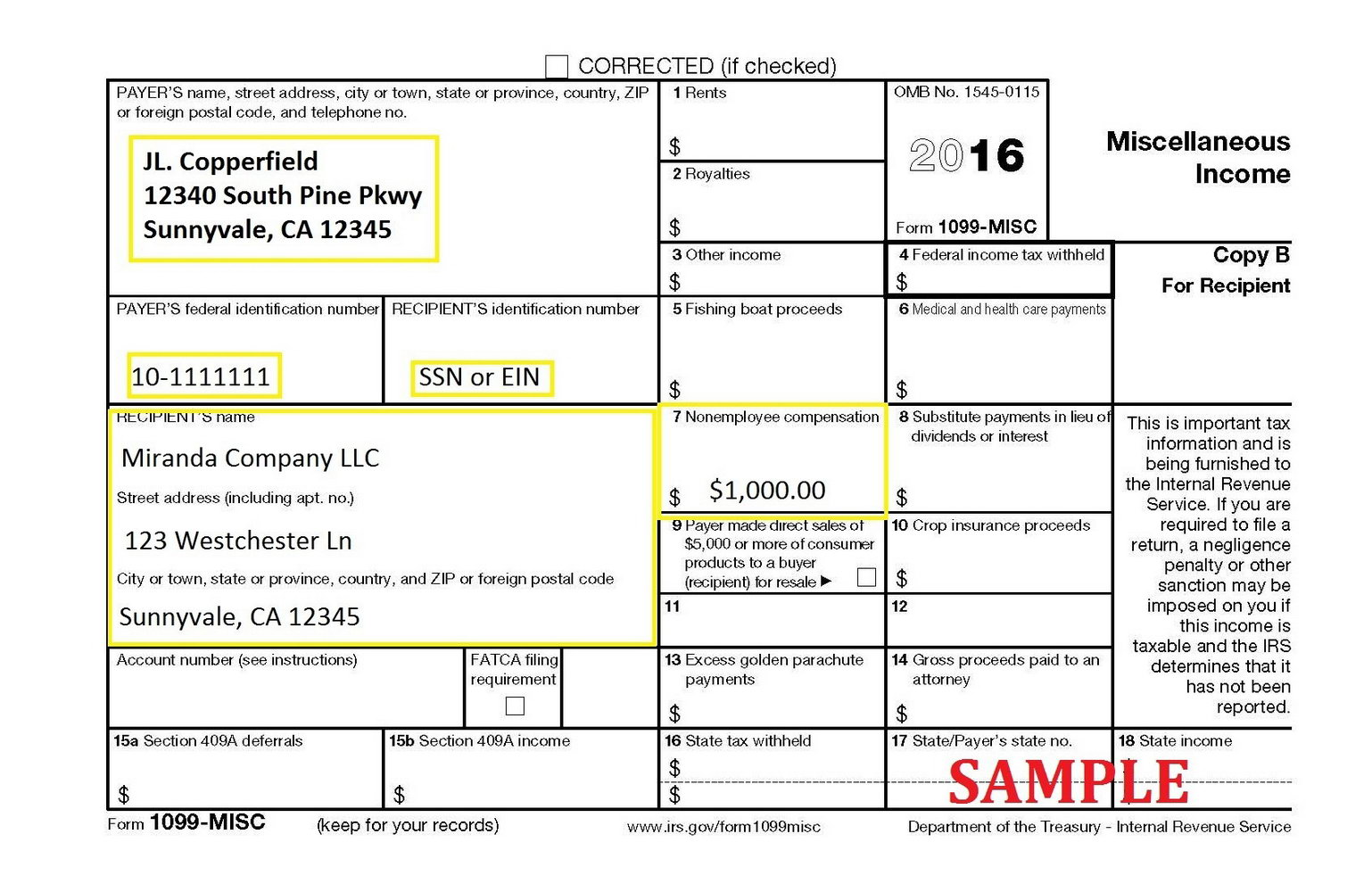 How To Fill Out A 1099 Misc Form 2016