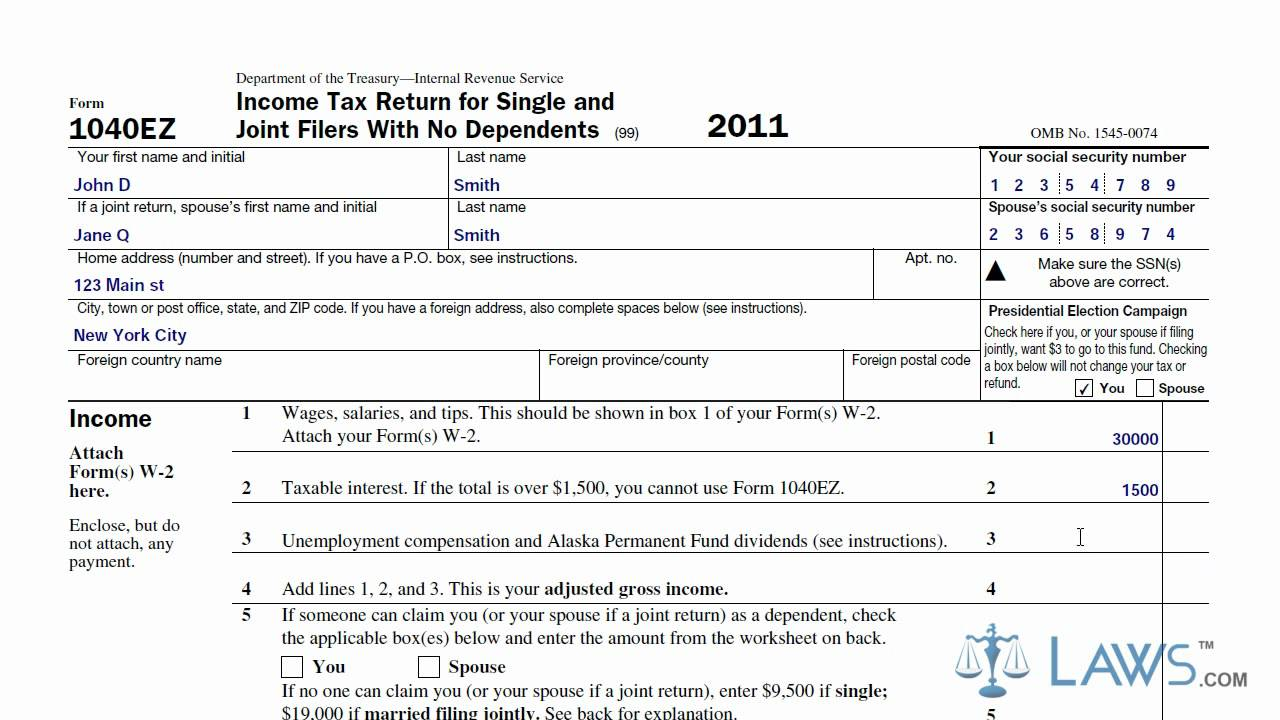 How To Fill Out Federal Tax Form 1040ez