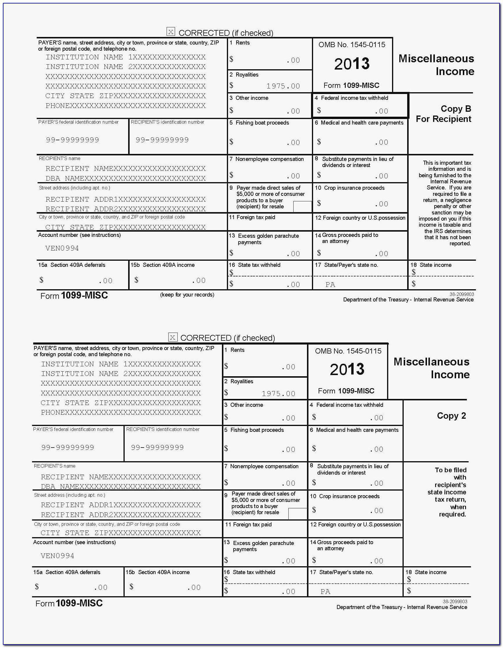Irs 1099 Template 2016 Unique 50 Fresh S 1099 Misc Template For Preprinted Forms 2016