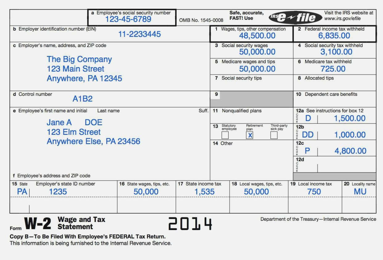How To Read A W2 Tax Return Form