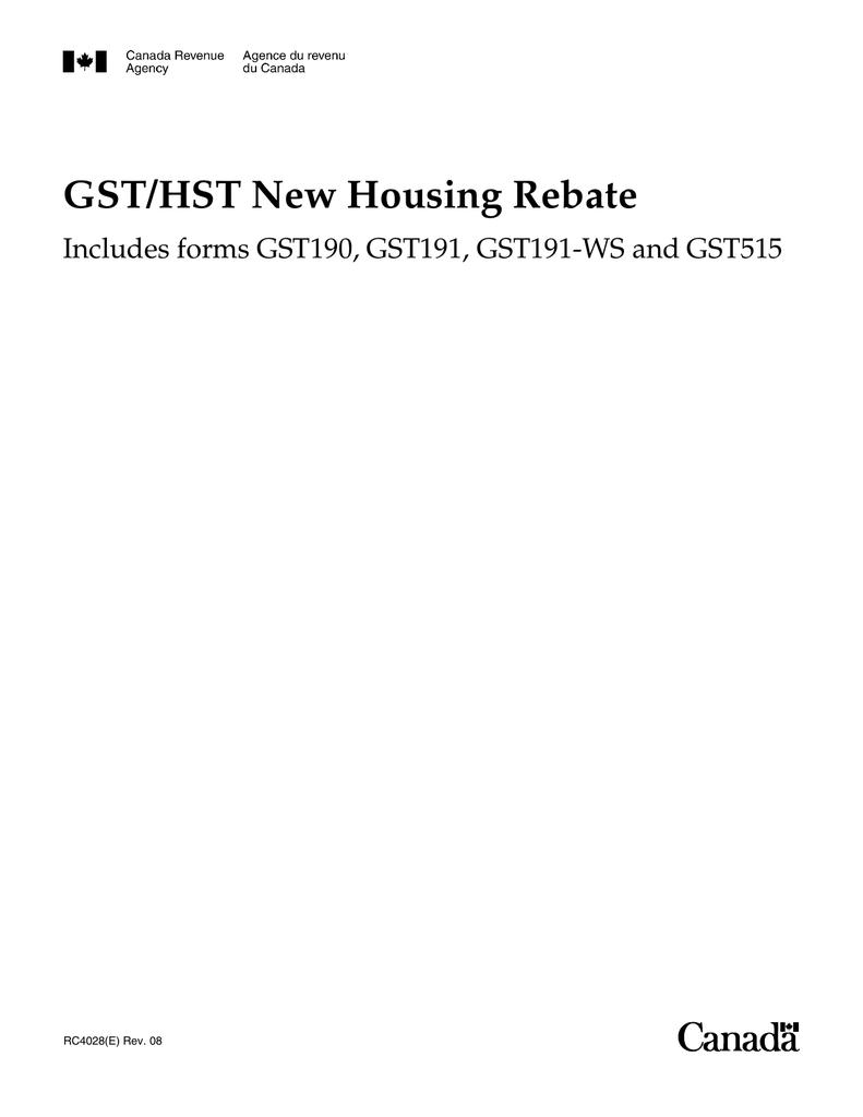Hst Rental Rebate Application Form