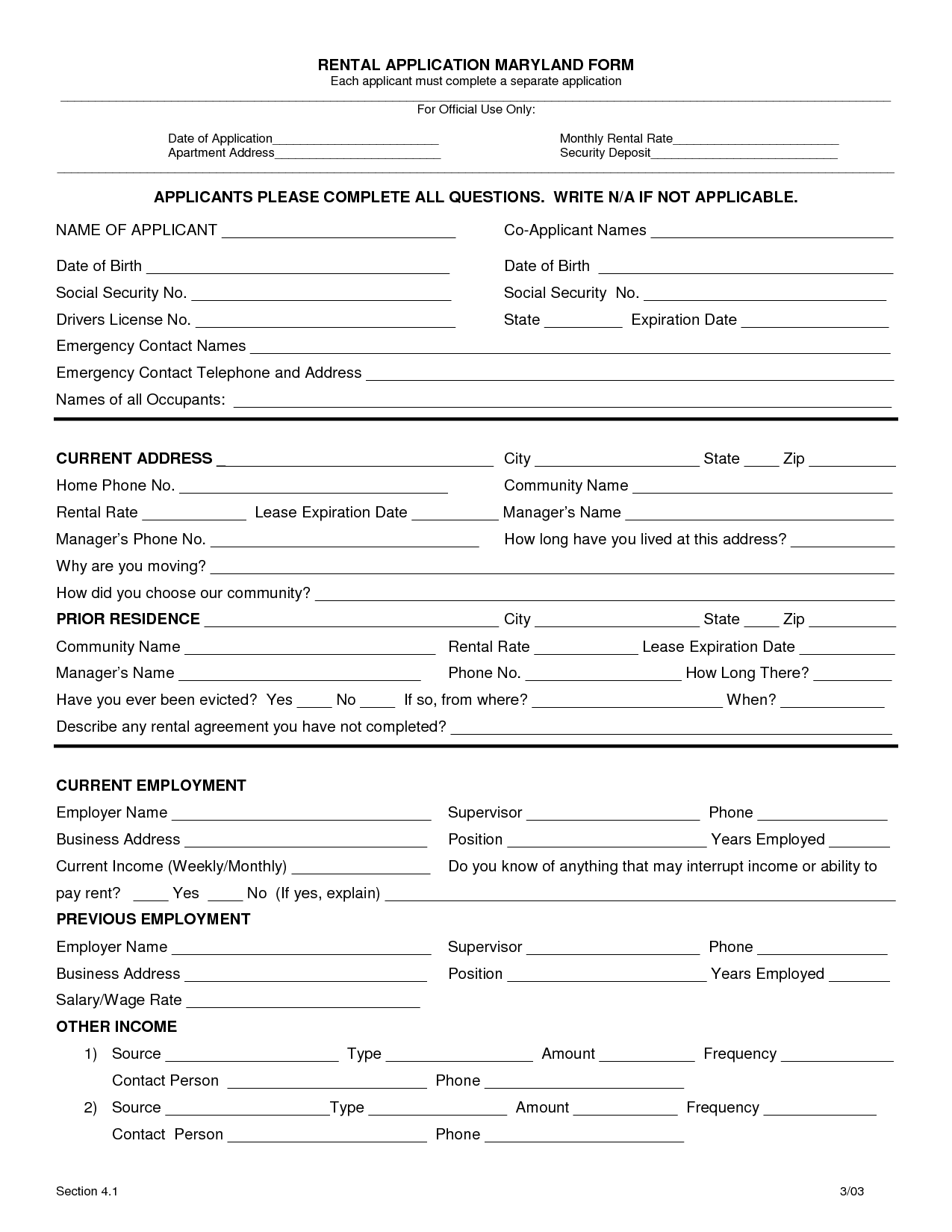 Hud Rental Application Form