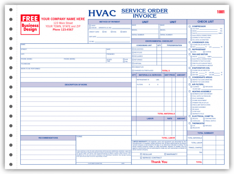 Hvac Service Order Invoice Template Air Conditioning Invoice Hvac Air Conditioning Service Invoice Template