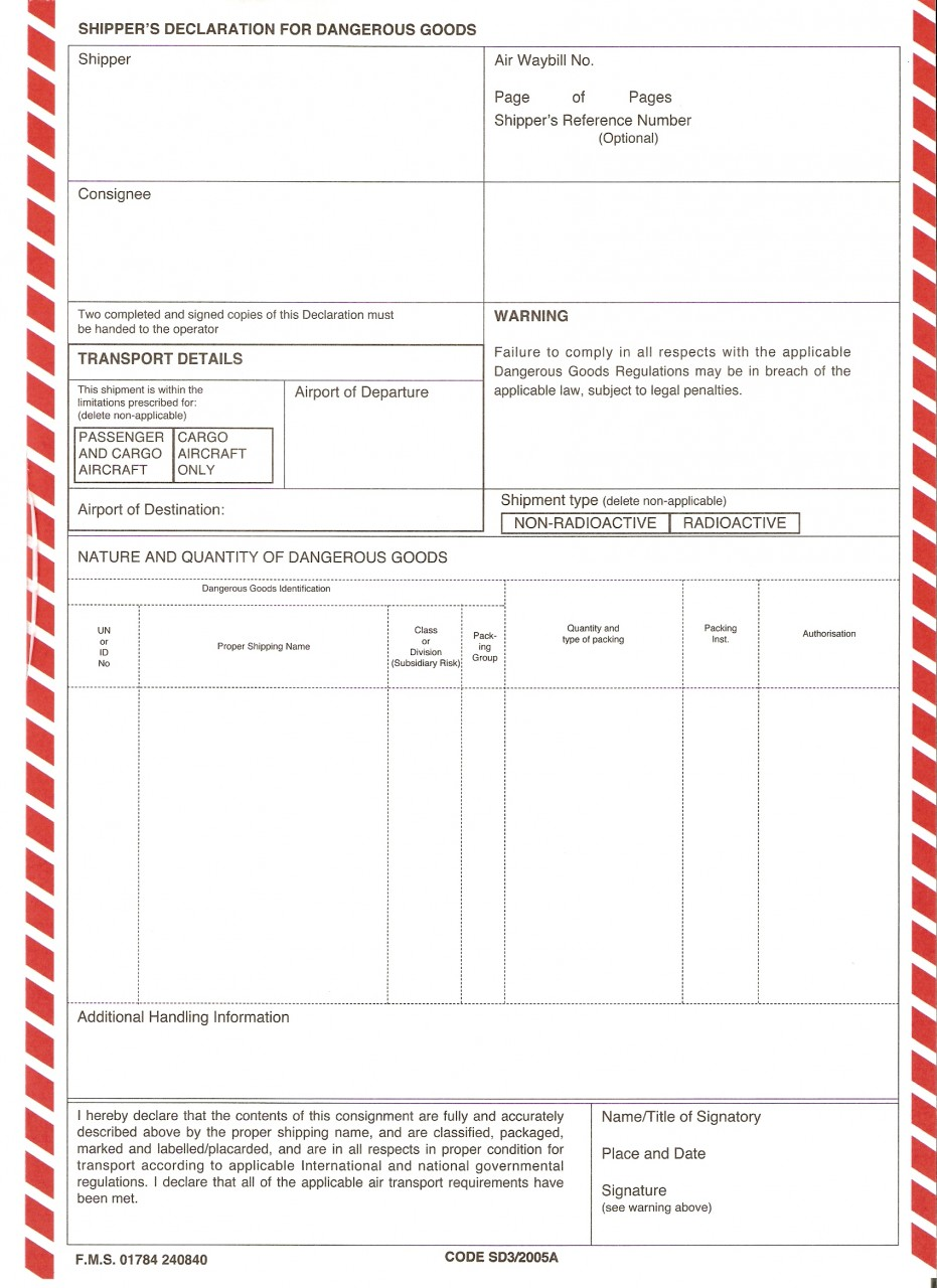 Iata Dangerous Goods Form Pdf
