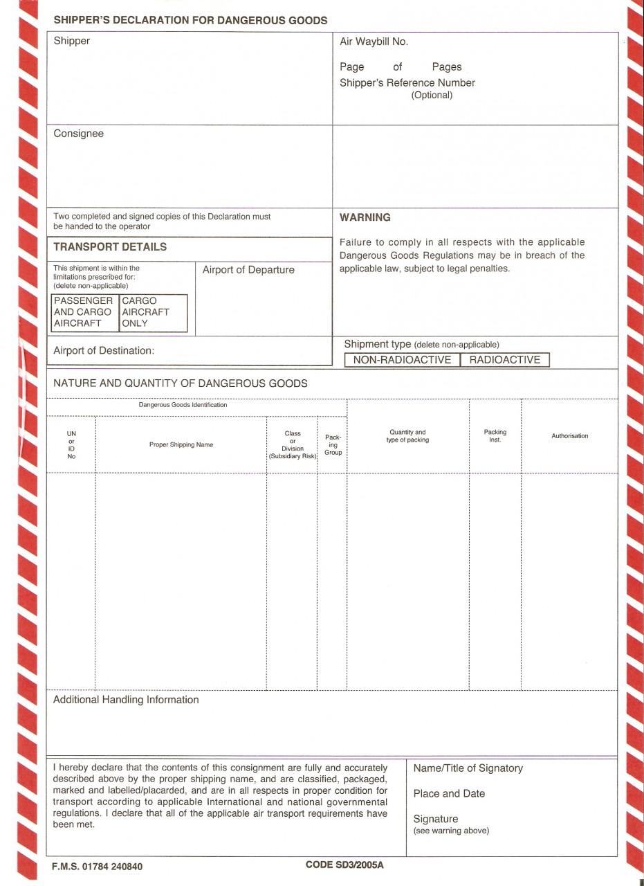 Iata Dg Declaration Form Pdf