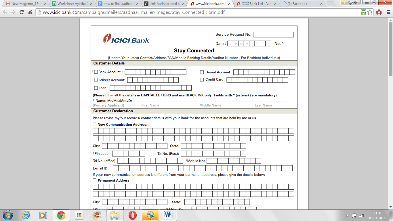 Icici Bank New Account Opening Form Pdf