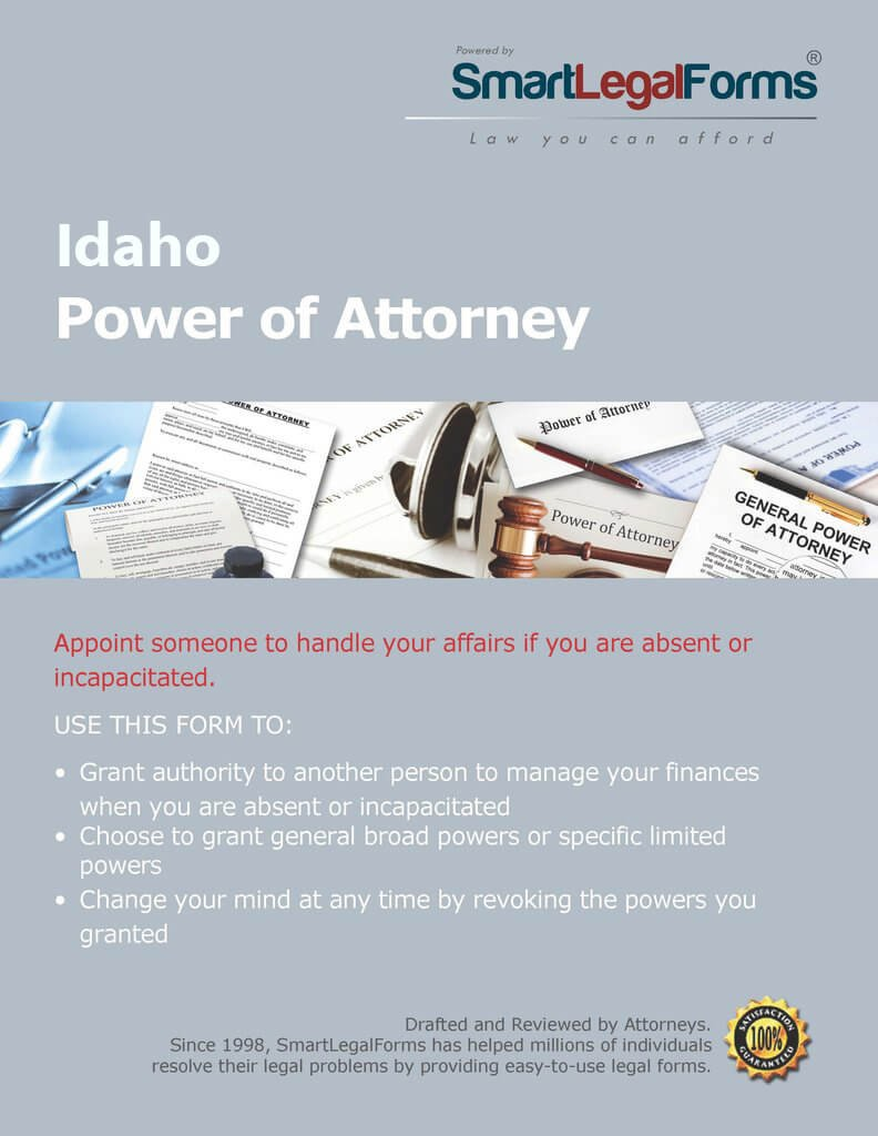 Idaho Statutory Durable Power Of Attorney Form