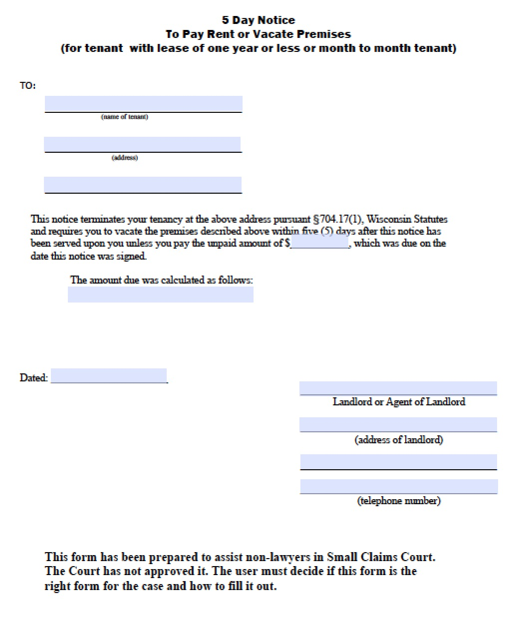 Illinois 30 Day Eviction Notice Form Pdf