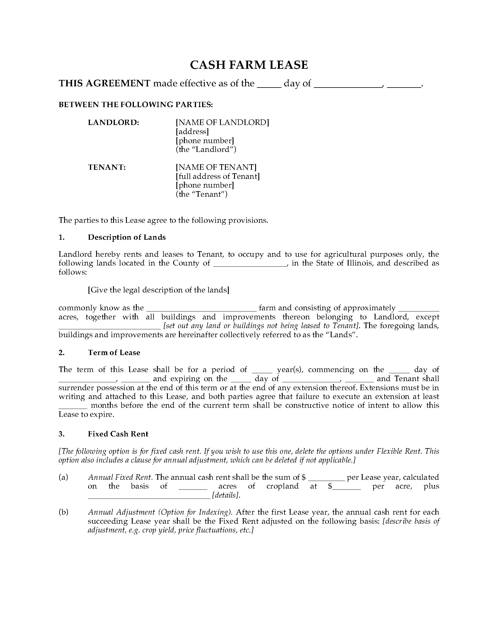 Illinois Cash Farm Lease Form