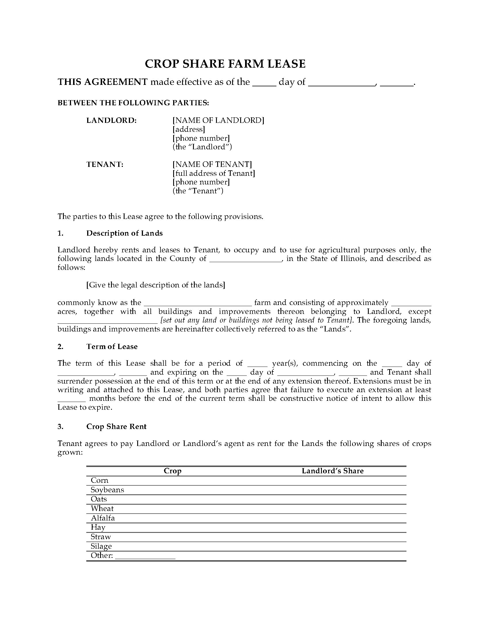 Illinois Farm Lease Forms