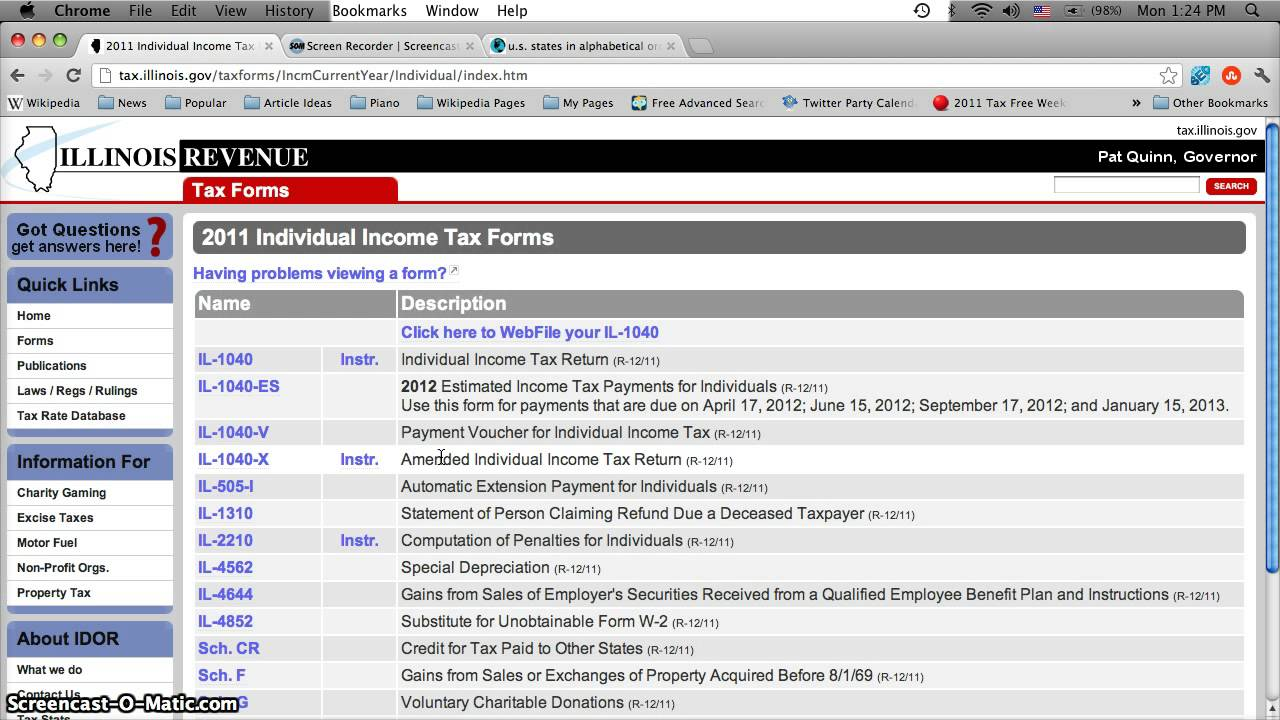 Illinois Individual Income Tax Return Form Il 1040
