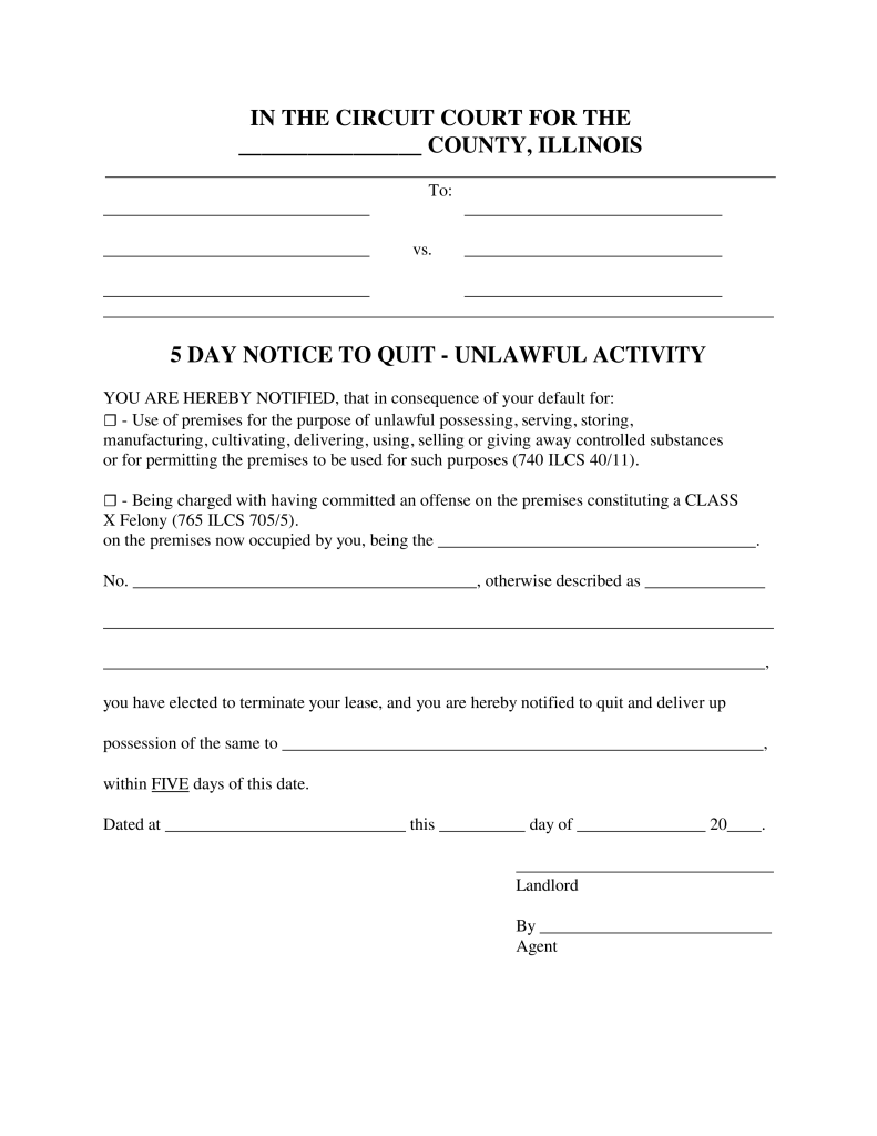 Illinois Landlord Notice To Vacate Form