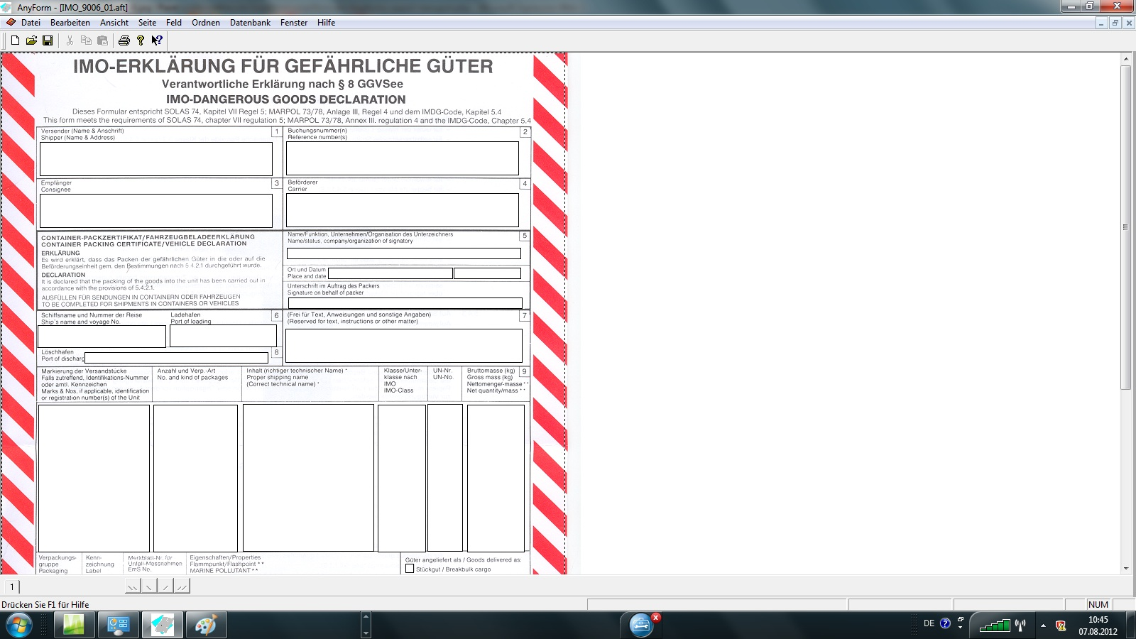 Imo Dangerous Goods Declaration Blank Form