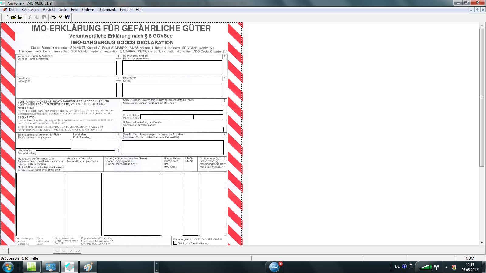 Imo Dangerous Goods Declaration Blank Form