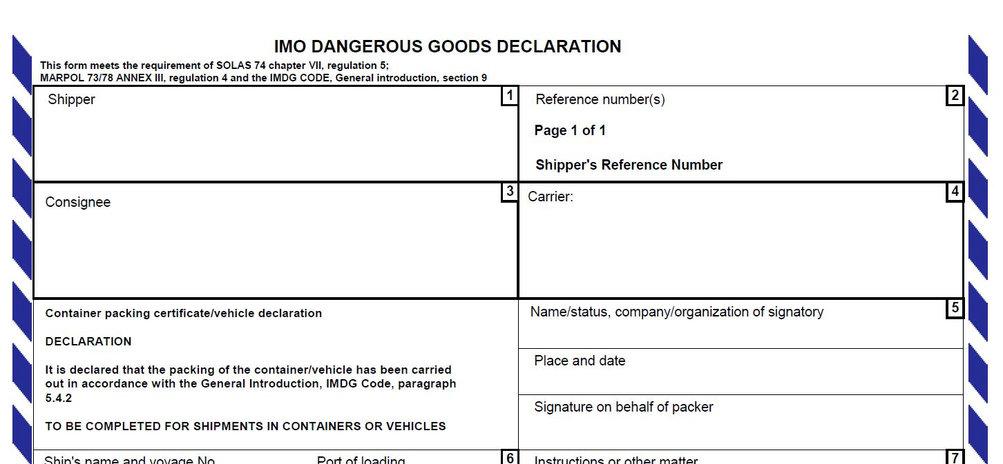 Imo Dangerous Goods Declaration Form Doc