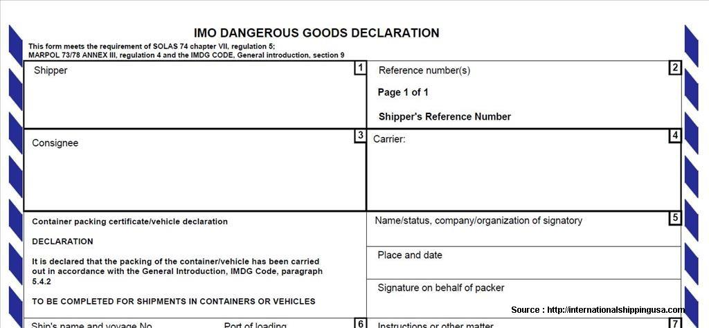 Imo Dangerous Goods Declaration Form Nz