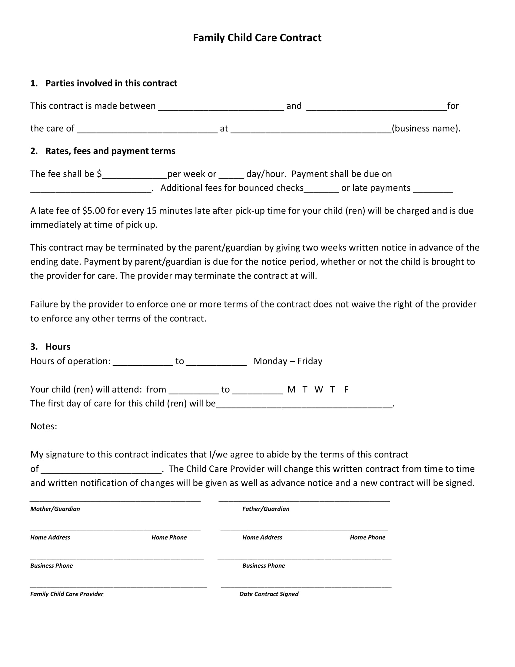 In Home Daycare Contracts And Forms