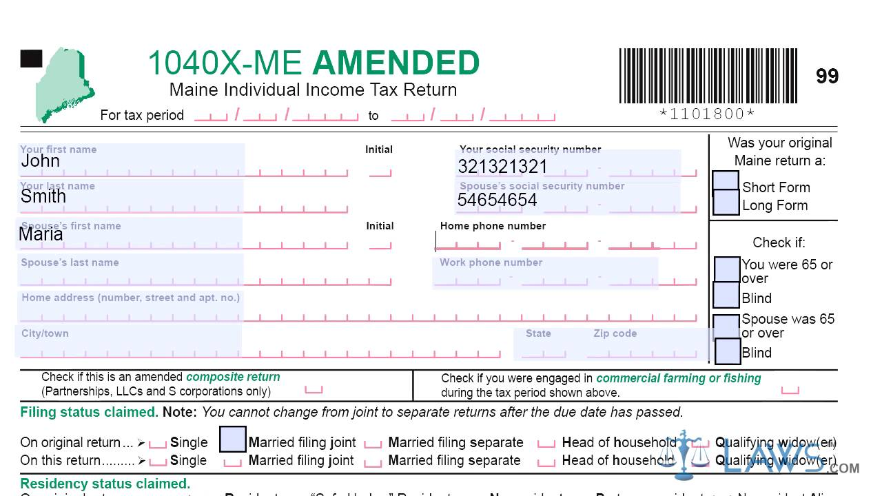 Income Tax Form 1040x