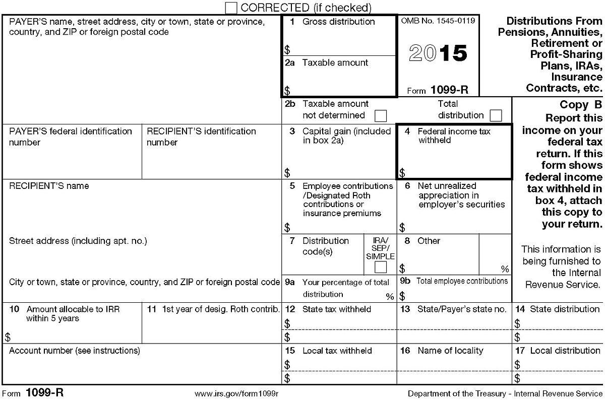 Income Tax Form 1099 R