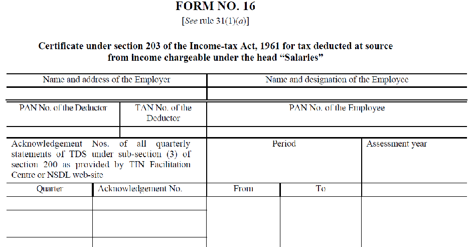 Income Tax Return Form 16a Online