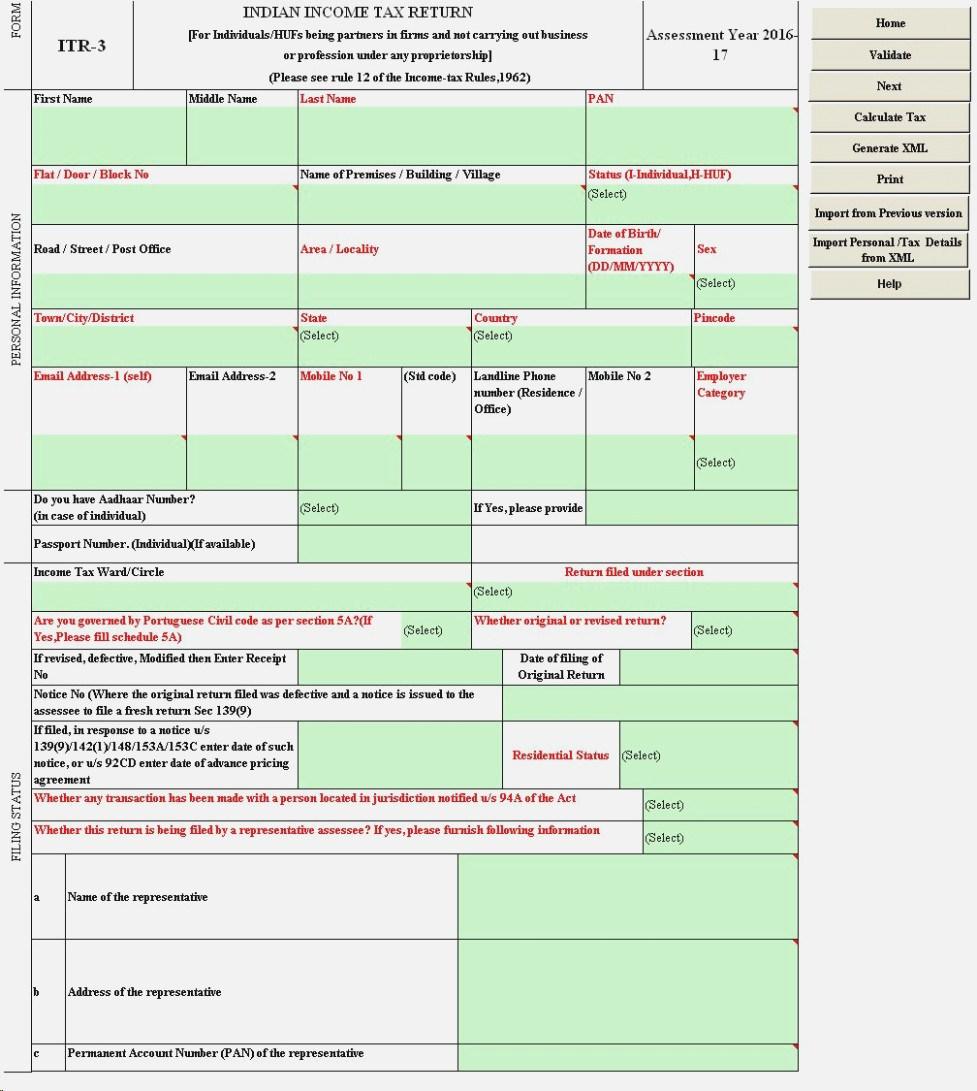 Income Tax Return Form 2015 16