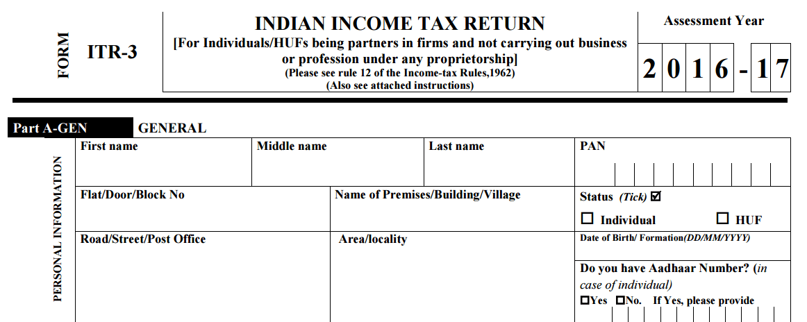 Income Tax Return Form 2016 17