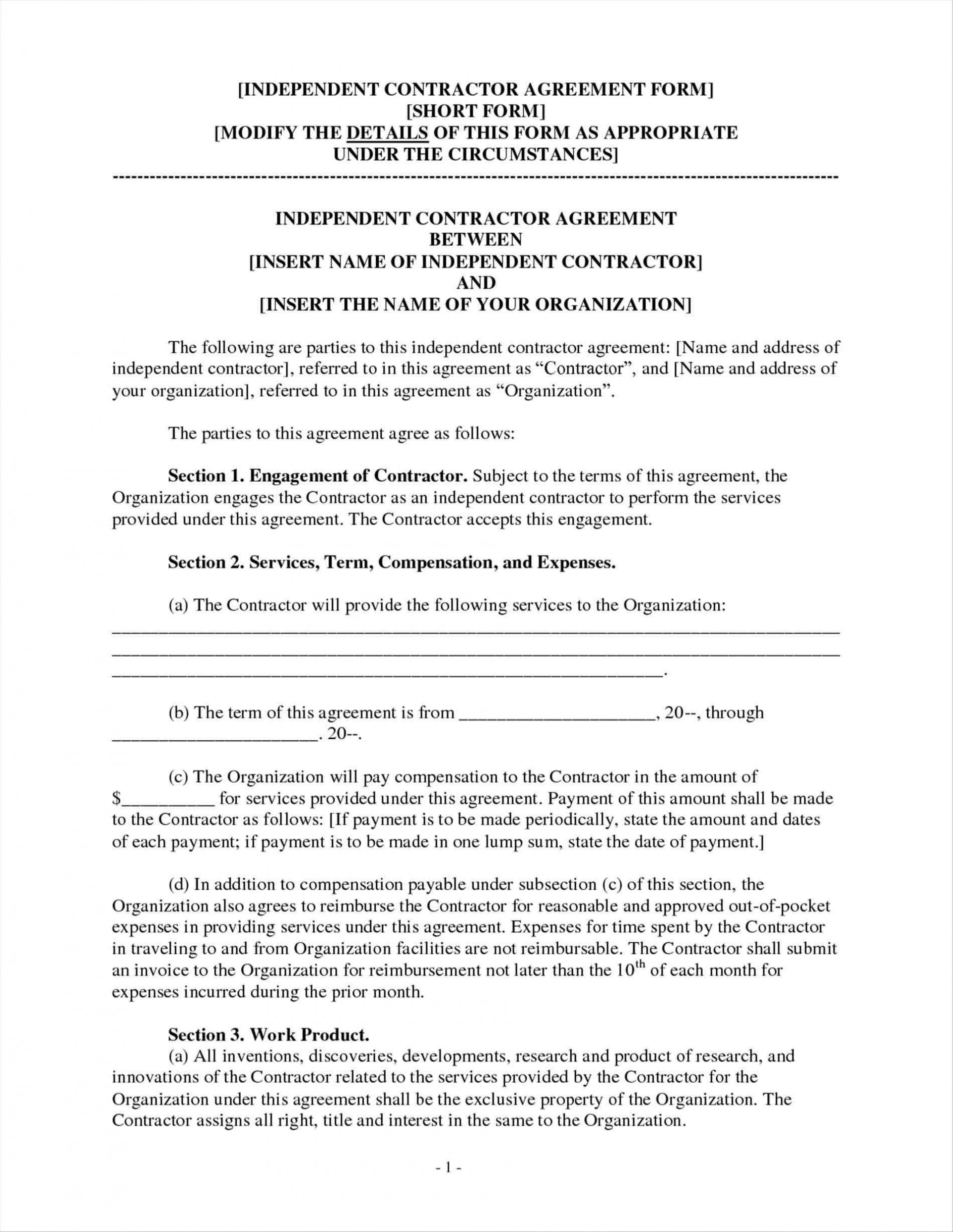Independent Contractor Agreement Form Georgia