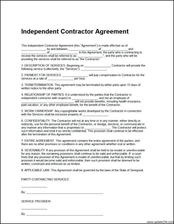 Independent Contractor Agreement Form New York