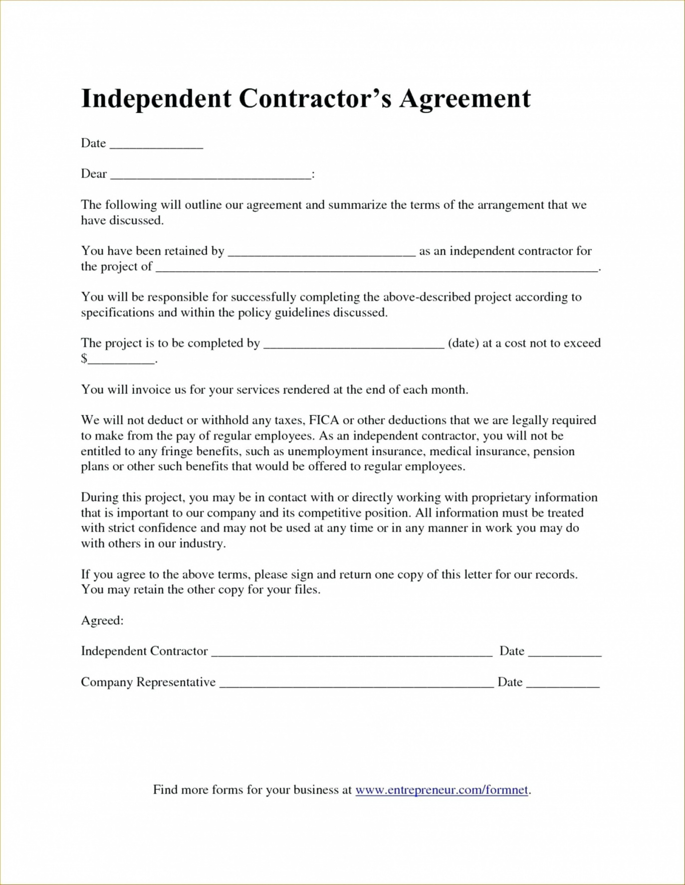This Is The Independent Contractor Agreement Florida Contract Form Pdf Under Law Truck Driver Contract Agreement Sample