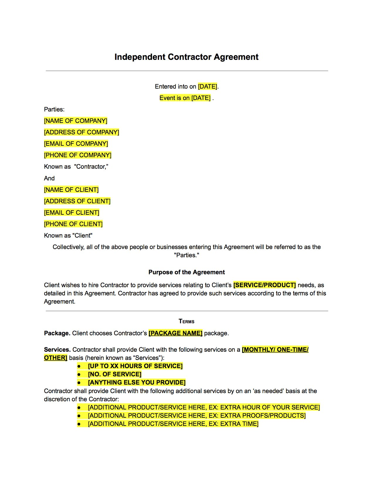 Independent Contractor Agreement Form Uk