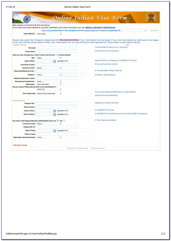 India Tourist Visa Application Form Pdf