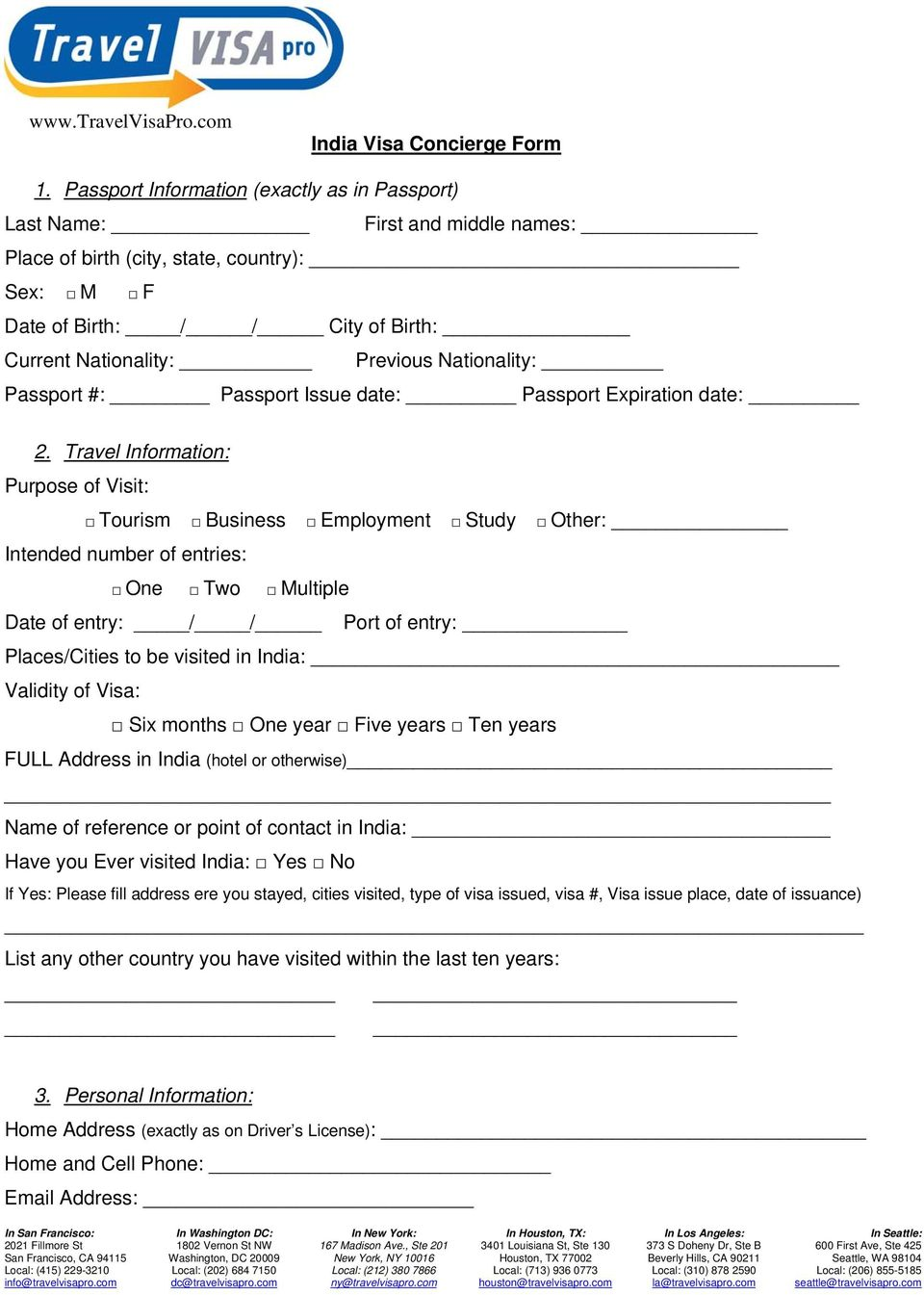 India Travel Visa Application Form