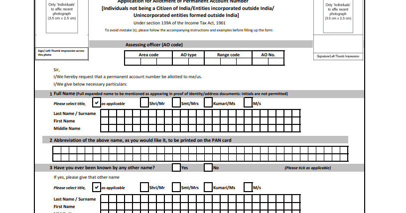 Indian Pan Card Application Form For Nri