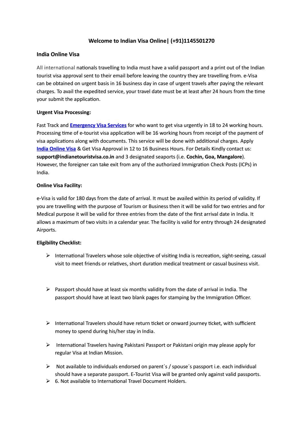 Indian Tourist Visa Application Checklist