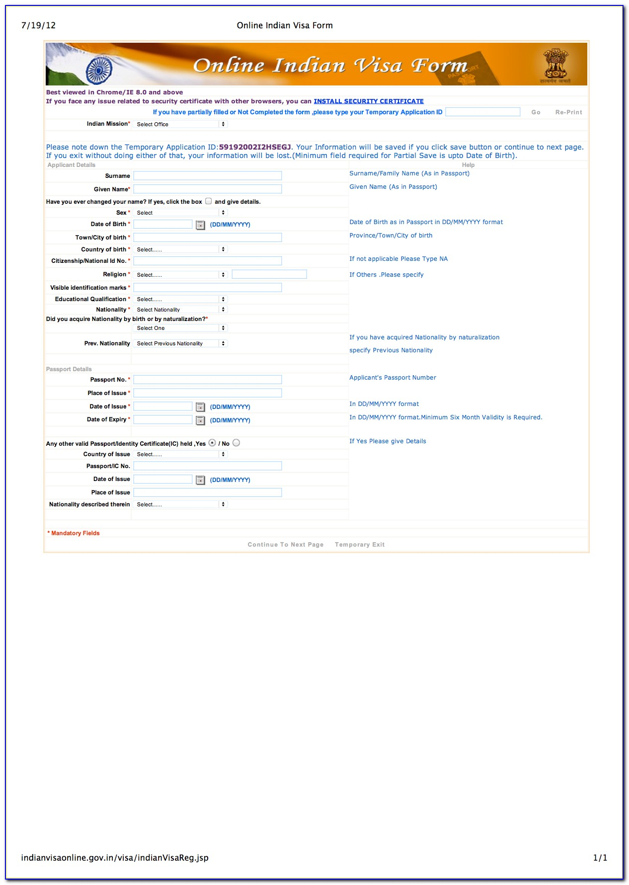 Indian Tourist Visa Application Form Download