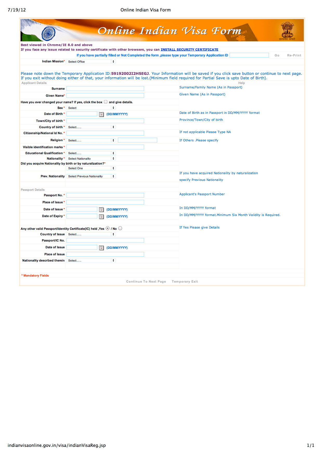 Indian Visa Application Form For Us Citizen Chicago