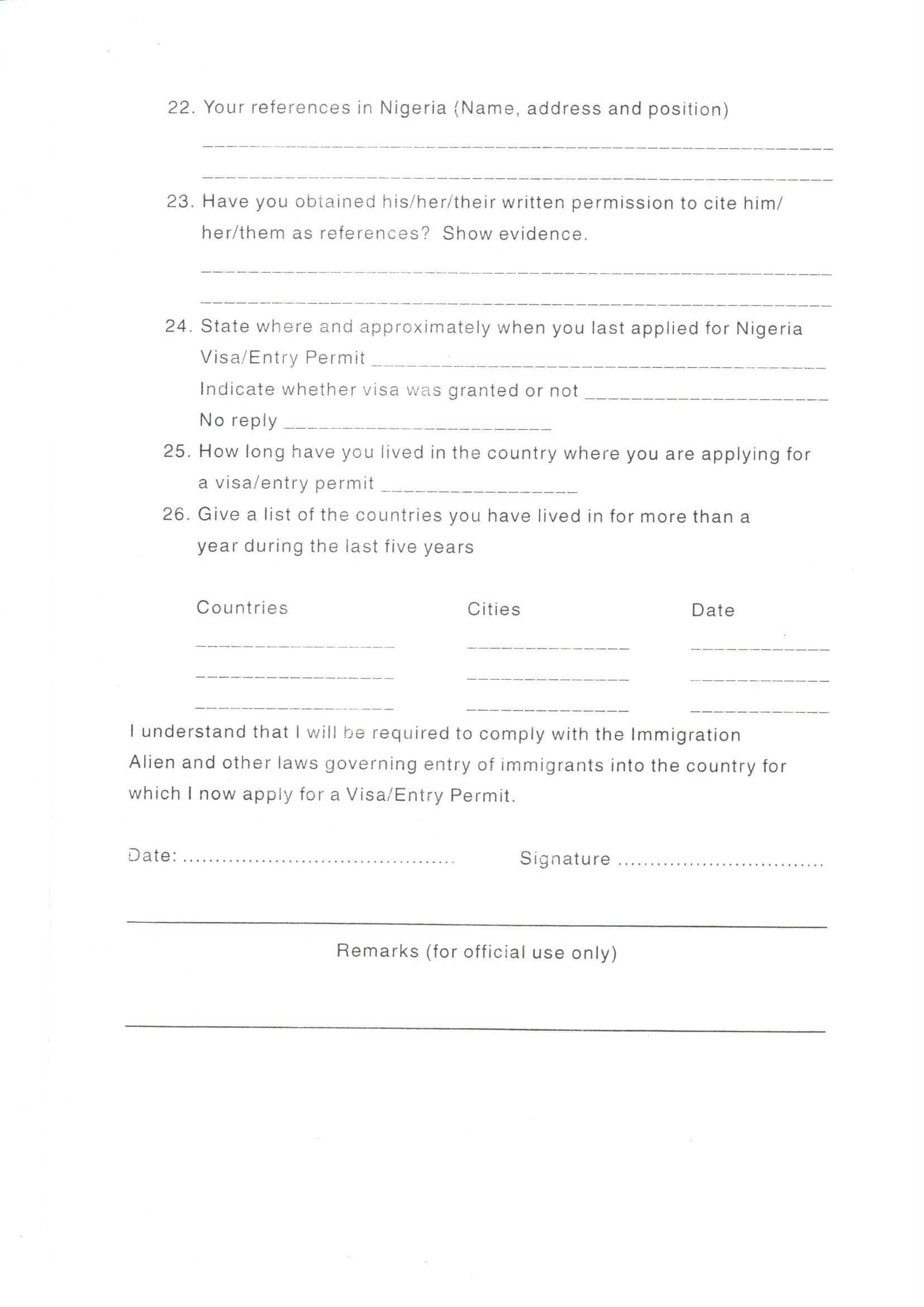 Indian Visa Application Form In Lagos Nigeria
