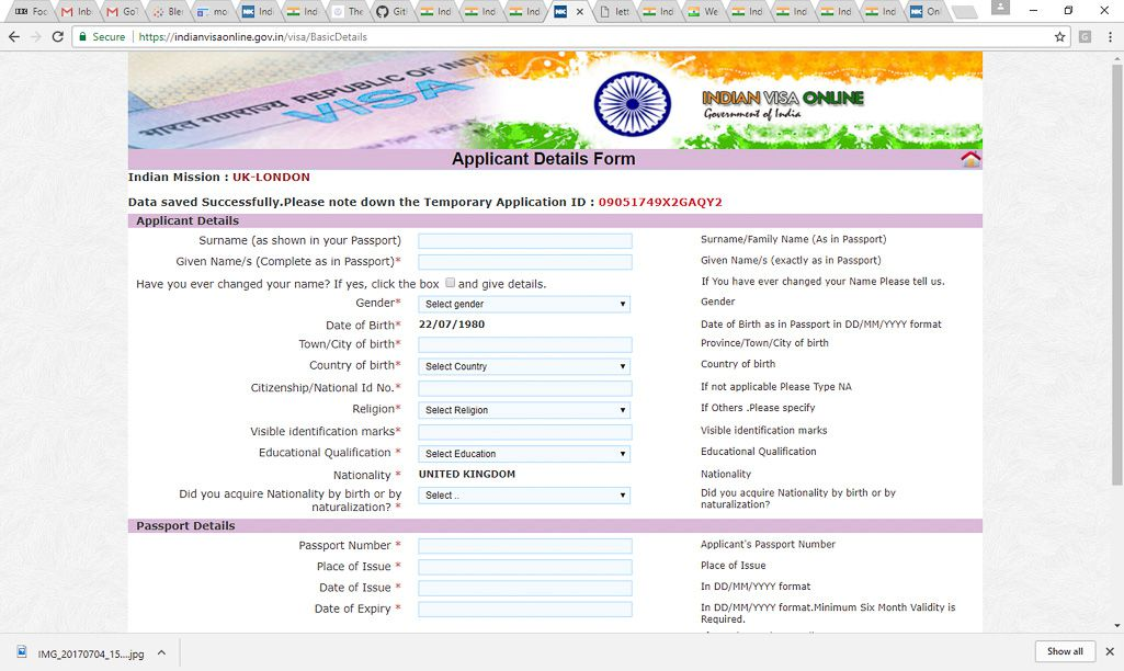 Indian Visa Application Form Print Out