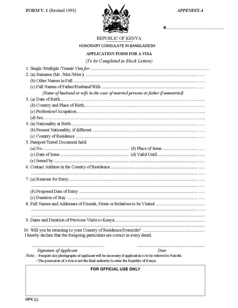 Indian Visa Application Forms Kenya