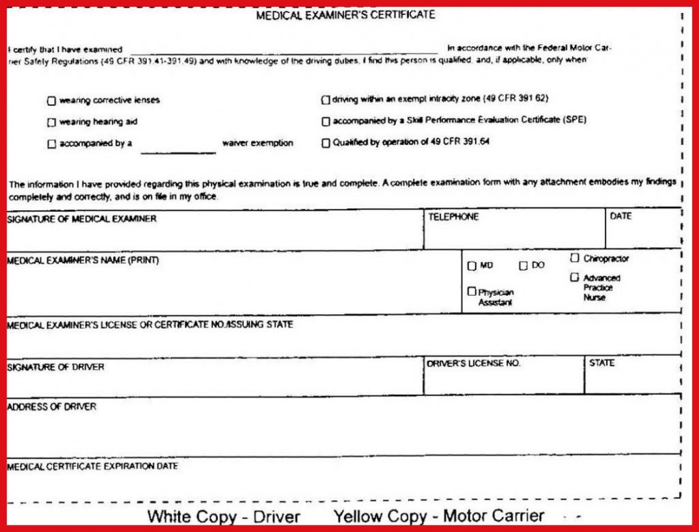 Indiana Cdl Dot Physical Form