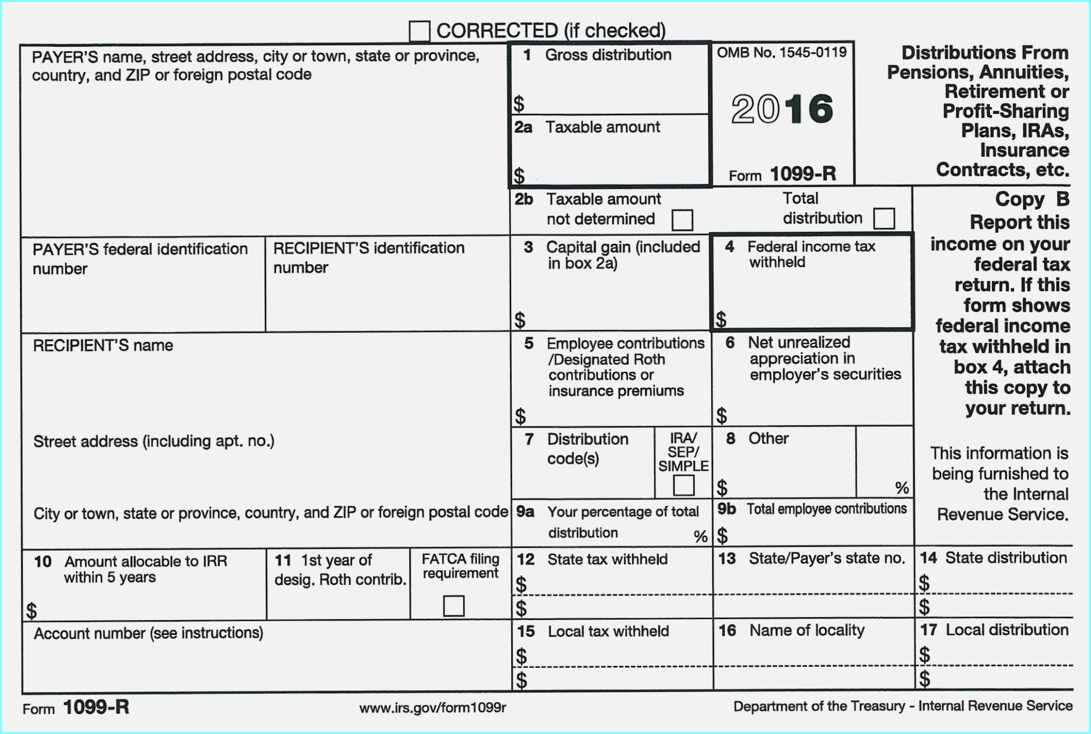 Internal Revenue Service Form 1099 Int