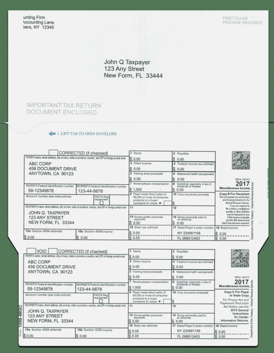 Internal Revenue Service Form 1099 Misc Instructions