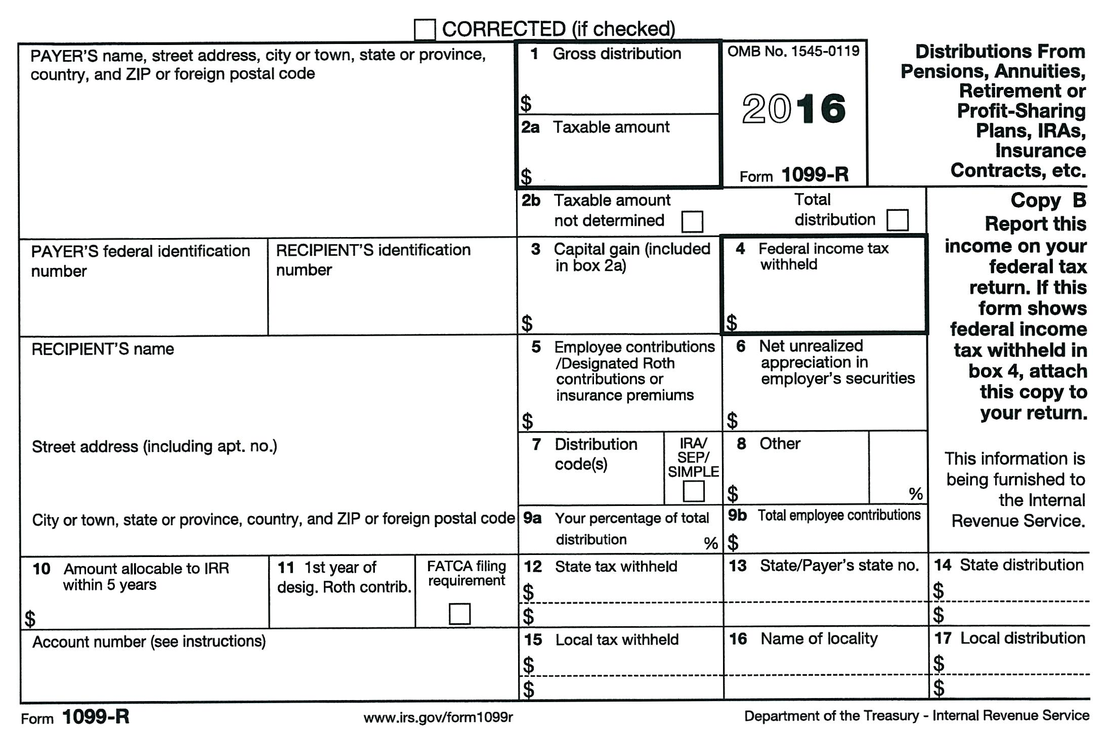 Internal Revenue Service Form 1099 R