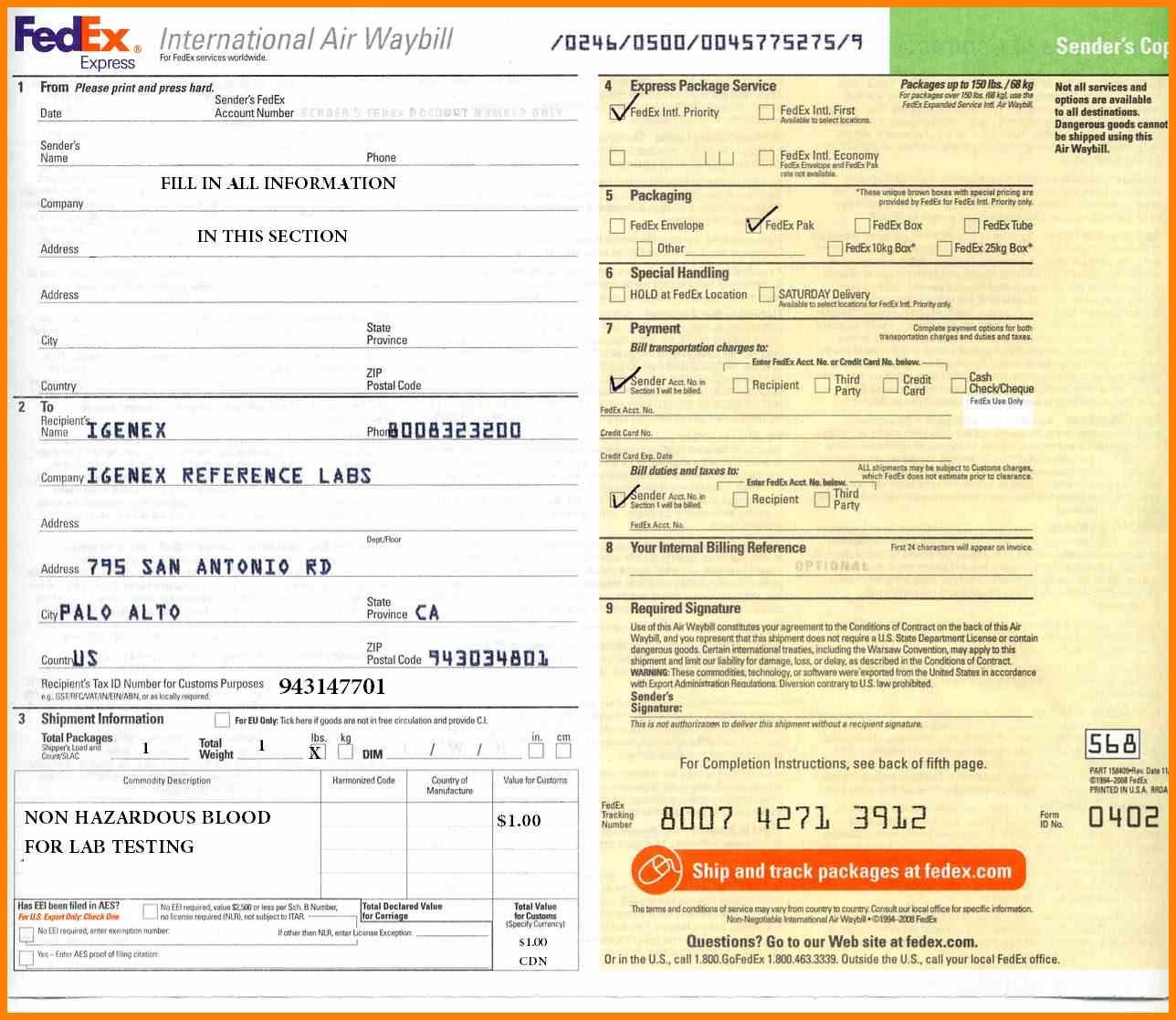 International Air Waybill Form Pdf