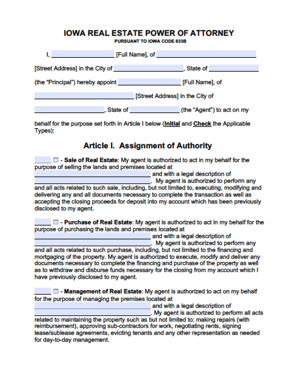 Iowa Durable Financial Power Of Attorney Form