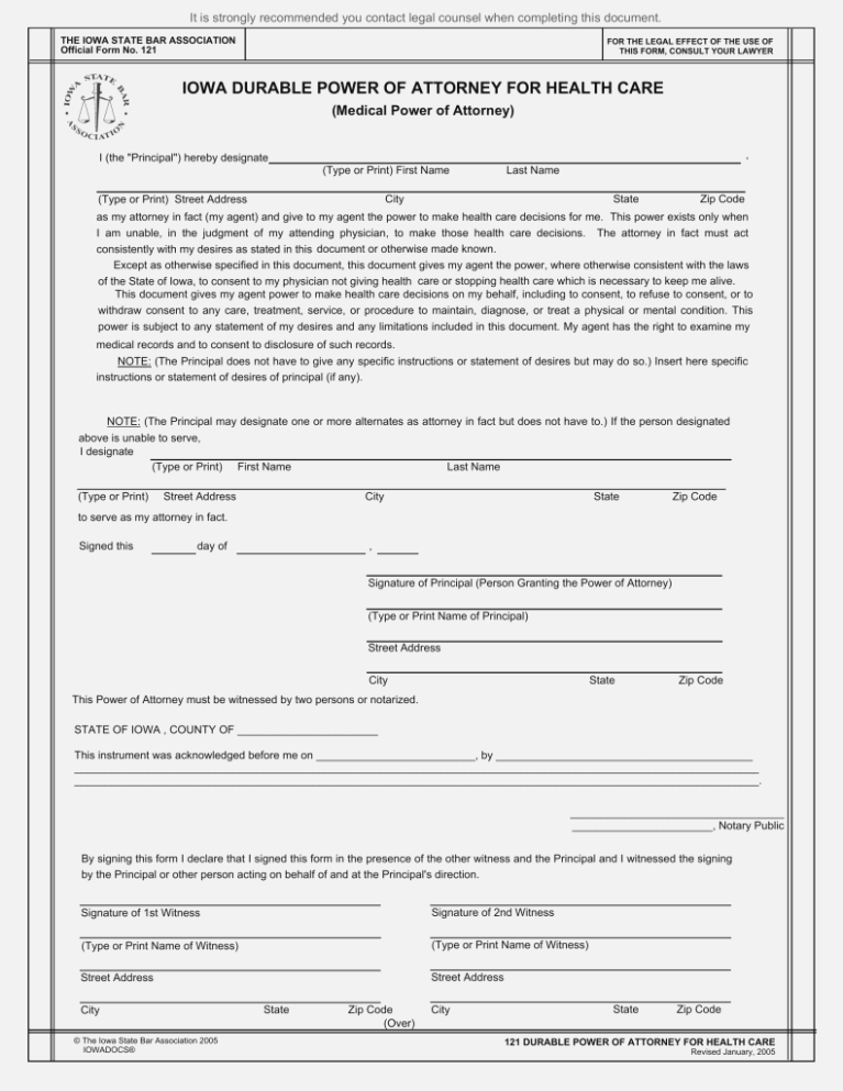 Iowa Durable Power Of Attorney For Health Care Form